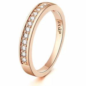 Australian Crystals 18k Rose Gold Wedding Band